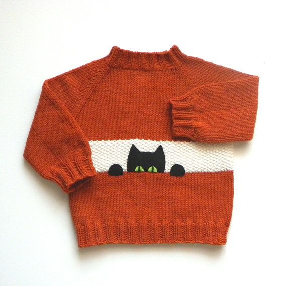 Black cat kids sweater Size 2T fox color baby pullower orange sweater