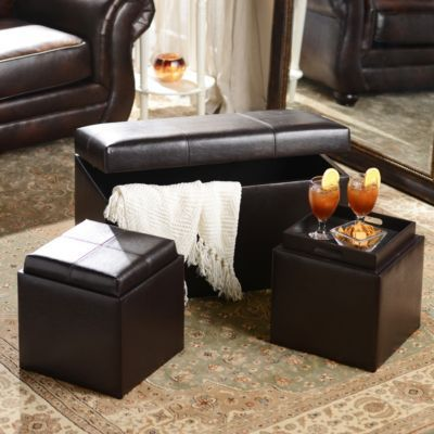 Brown Faux Leather Storage Bench Amp Ottoman Set Leather