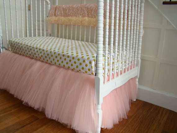 Pink and Gold Tulle Crib Bedding. Peach/Pink Tulle by LinenBaby