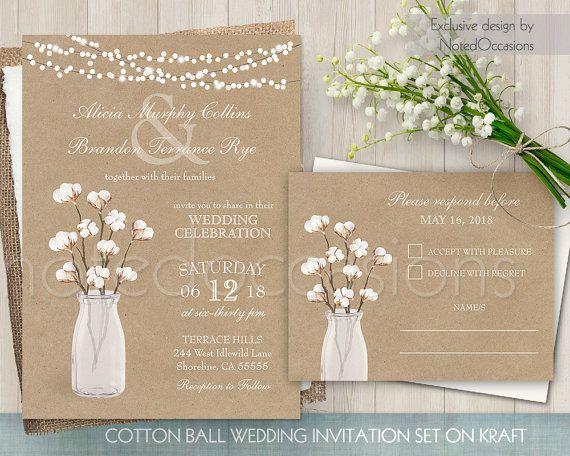 Cotton Wedding Invitation, Cotton Blossom Rustic Weddingn, Cotton Plant Invite Kraft Country Wedding Invitation Digital Printable Template by NotedOccasions
