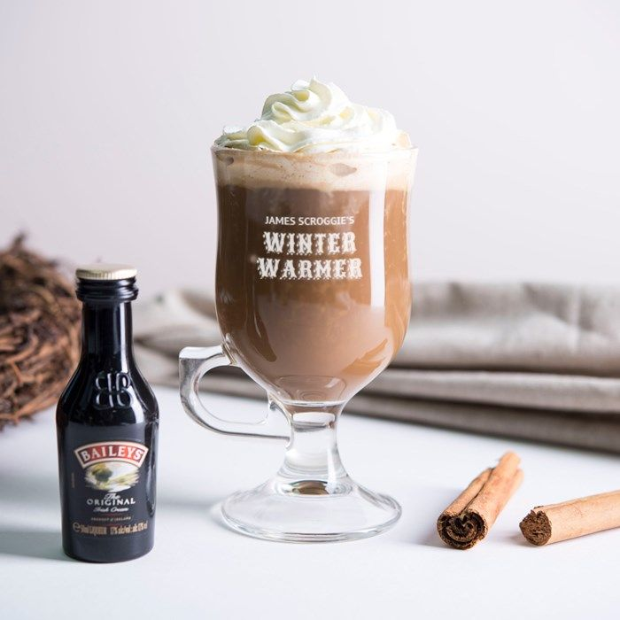 Personalised Irish Coffee Glass With Baileys Miniature - Winter Warmer | GettingPersonal.co.uk