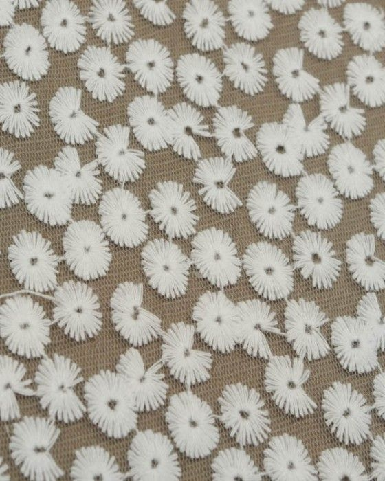 Cotton Blend Embroidered Tulle Fabric - White Daisies