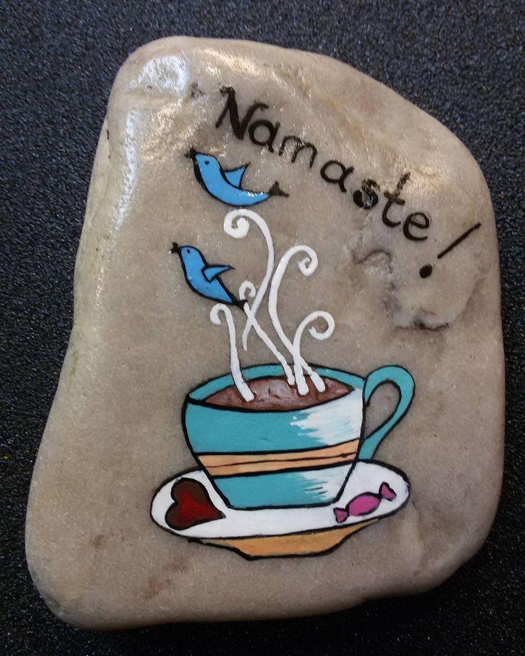 #namaste #india #paintingstone #coffee #coffeetime #kahve #kahvekeyfi #heart #kalp #şeker #seker #blue #turkuaz