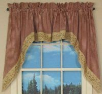 """Checker Berry Swag by Primitive Home Decors. $43.95. Window Treatments are Fully Lined for Durability. 100% Cotton Fabric. The Checker Berry Swag frames your window with the great wine and tan check, then completes the look with the berry vine hem, matching the other valances and drapes. The swag is 72"""" wide x 36"""" long. It is lined and has a 2"""" header and rod pocket. Machine"""