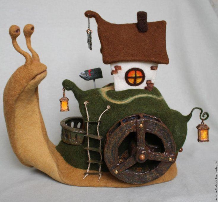 Купить Домик на холме - улитка, дом, таверна, дом на улитке, дом валяный, улитка валяная