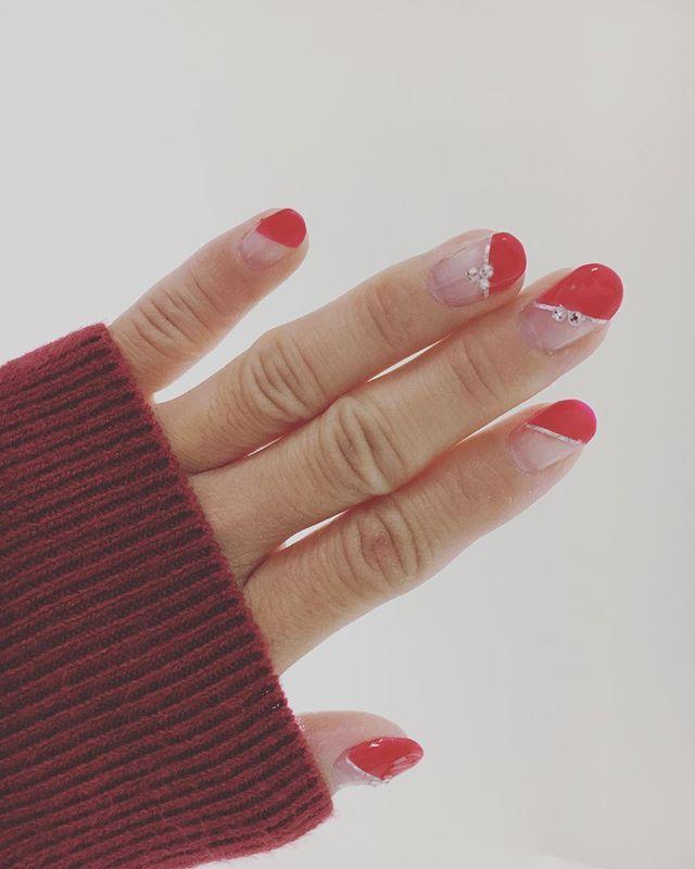 過去ネイル記録 #nail #nailstagram #selfnail #ネイル #セルフネイル #ジェルネイル #セルフジェルネイル #斜めフレンチ #赤ネイル