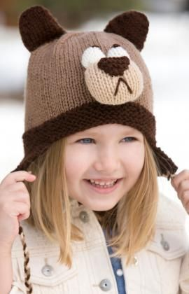 Bashful Bear Hat Free Knitting Pattern from Red Heart Yarns