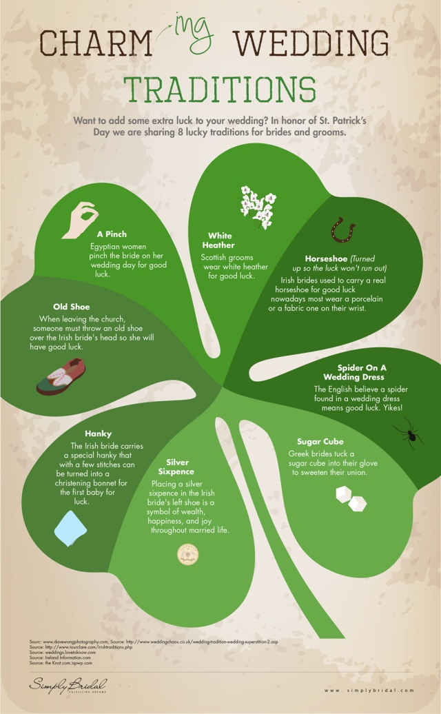 Wedding traditions to bring you the luck of the Irish!!