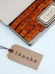 beautiful vintage letter stamps including the whole alphabet on wooden blocks