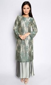 Lace Maching Baju Kurung in Green