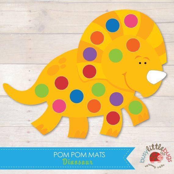 Dinosaur Pom Pom Mats great for fine motor skills