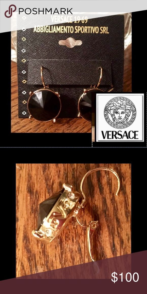 """🆕Versace 19V69🇮🇹Black Crystal Dangle Authentic Versace 19V69 Abbigliamento Sportivo🌹earrings are crafted of sterling silver(10kt gold overlay)🌹secured with leverback closures🌹High Polish🌹1""""Dangle🌹crystal is cylindrical and beveled forming a point🌹catching every stunning ray of light🌹logo on the side of each earring has two crystals on each side of the •19V69• simple elegance🚫trades Versace Jewelry Earrings"""