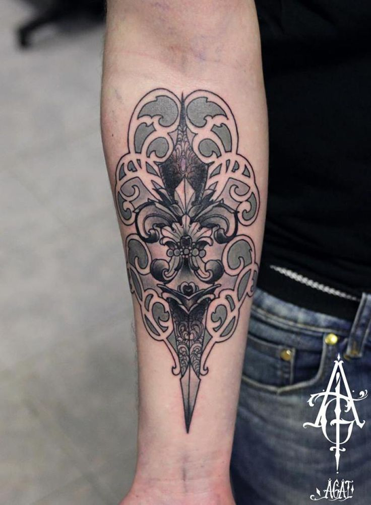 Amazing Dagger Baroque tattoo by Agat Artemji | Best Tattoo Ideas ...