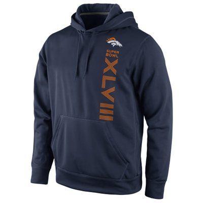 Nike Denver Broncos Super Bowl XLVIII Bound Vertical Performance Hoodie - Navy Blue