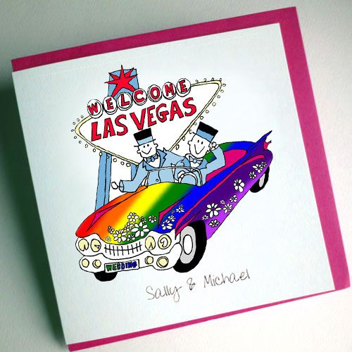 Gay Vegas Wedding Card [GVGC01] - £4.50 : Cool Wedding Stationery, The Coolest Wedding Stationery