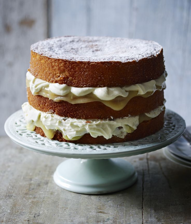 A stunning three-tiered cake filled with lemon curd and cream