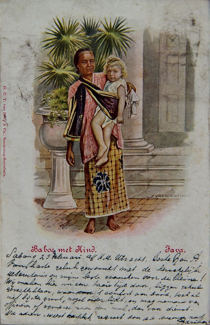 "Old postcard ""Baboe met kind, Java"""
