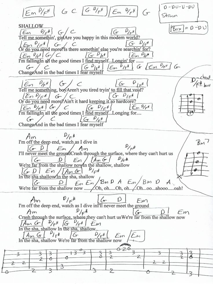 Shallow Lady Gaga Guitar Chord Chart Guitar Chords For Songs Guitar Chords Ukulele Chords Songs