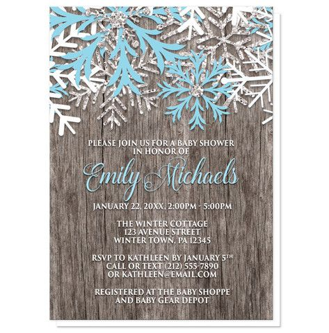 Baby Shower Invitations - Winter Wood Blue Snowflake – Artistically Invited
