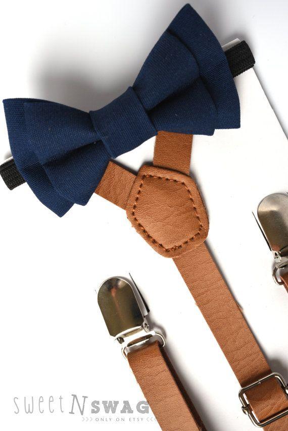 SUSPENDER & BOWTIE SET. Newborn - Adult sizes. Light brown pu leather suspenders. Navy Bow tie.