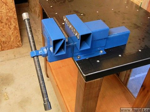 """Steel Bench Vise by John Heisz -- Homemade steel bench vise constructed primarily from 2x3 rectangular steel tubing, 1"""" threaded rod, and nuts. http://www.homemadetools.net/homemade-steel-bench-vise"""