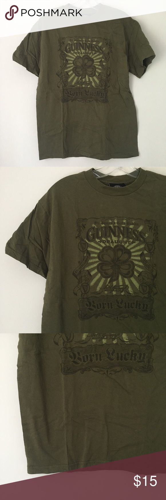 """GUINNESS SHAMROCK CLOVER LUCKY GREEN TEE SHIRT TOP Tee Shirt Top 