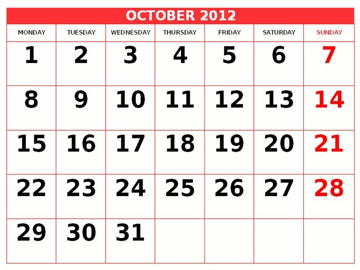 Printable Calendar 2012 0ctober