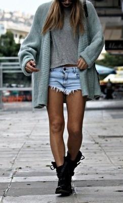 Long cardigan, denim shorts.