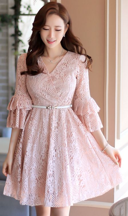 StyleOnme_Floral Lace Ruffle Sleeve Wrap Style Flared Dress #pink #floral #lace #sweet #feminine #elegant #koreanfashion #dress #kstyle #seoul #kfashion #spring #pastel