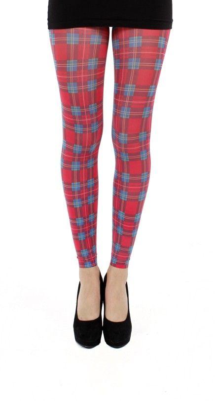 Jackson Plaid Printed Footless Tight Red - Pamela Mann