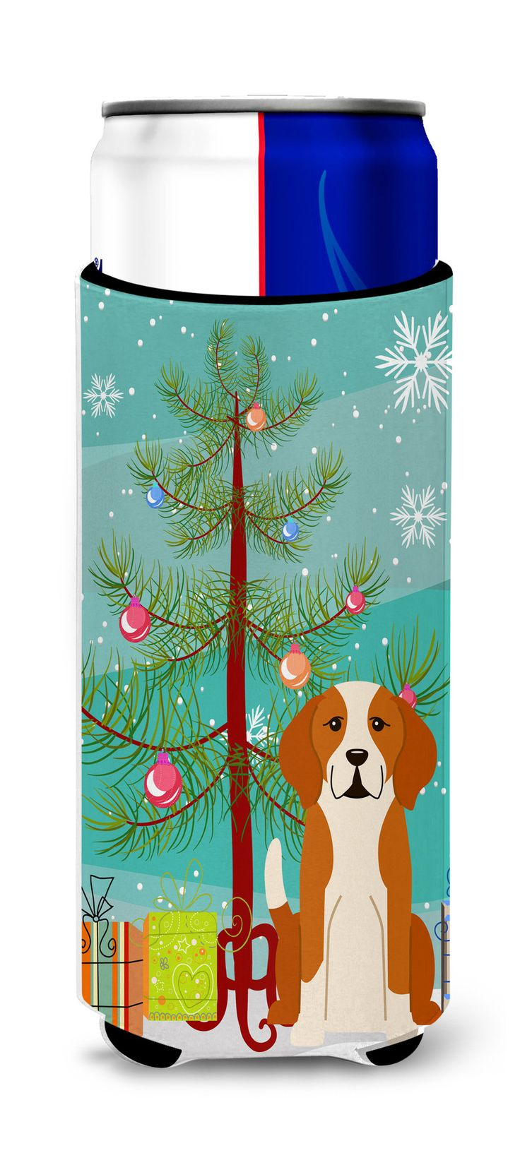 Merry Christmas Tree English Foxhound Michelob Ultra Hugger for slim cans BB4235MUK