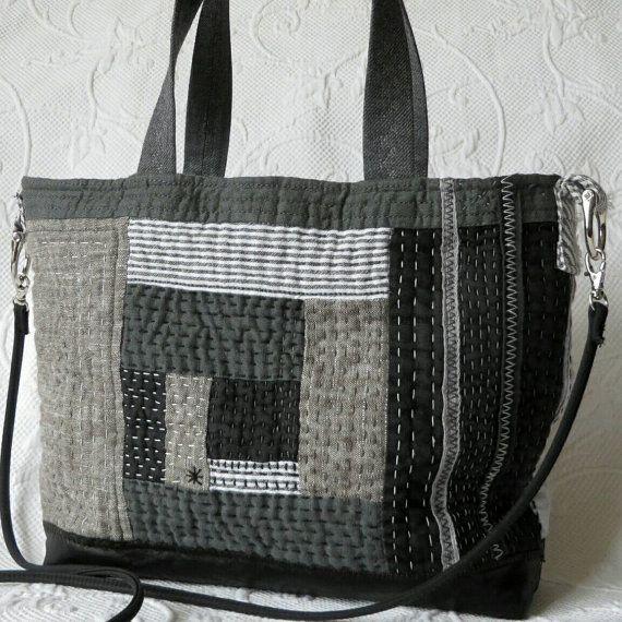Schwarze Hand gesteppte Handtasche Sashiko Log von HobbsHillQuilts