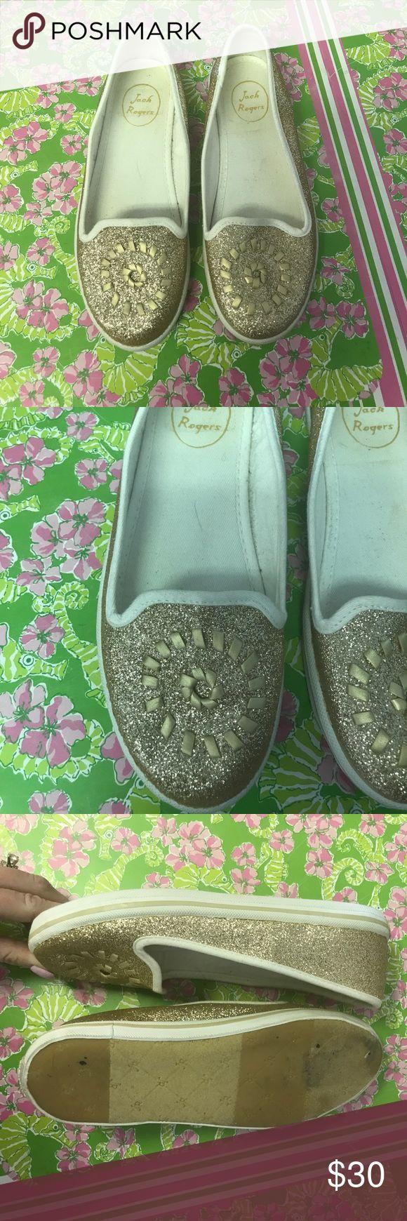 Glitter Jack Rogers Mila flats Gold glitter Jack Rogers Mila flats! Worn once. Size 6 Jack Rogers Shoes Flats & Loafers