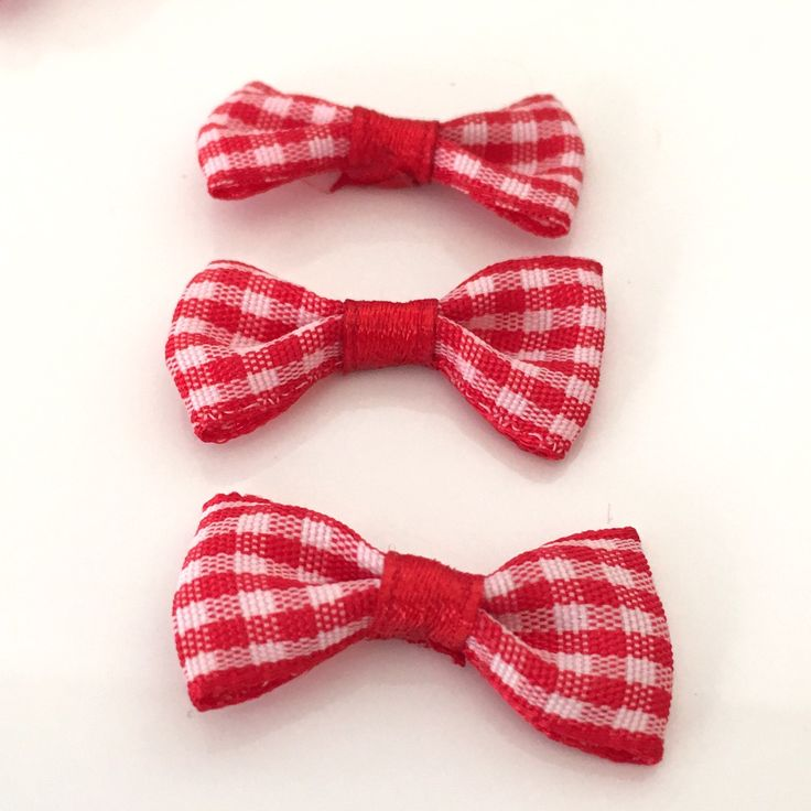10, red gingham bows, red plaid bows, red bows, gingham ribbon bows, gingham check bows, bows uk, cardmaking bows, craft supplies uk by Buttonsheduk on Etsy