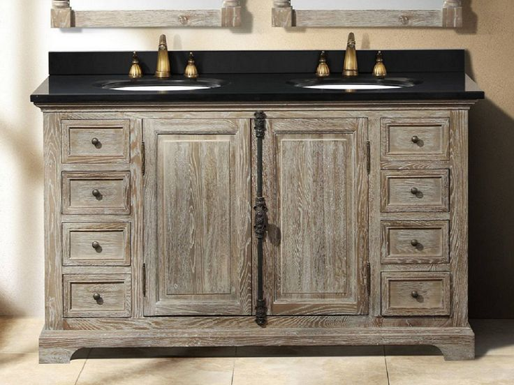 Rustic bathroom vanity with driftwood grey finish love for Gray rustic bathroom