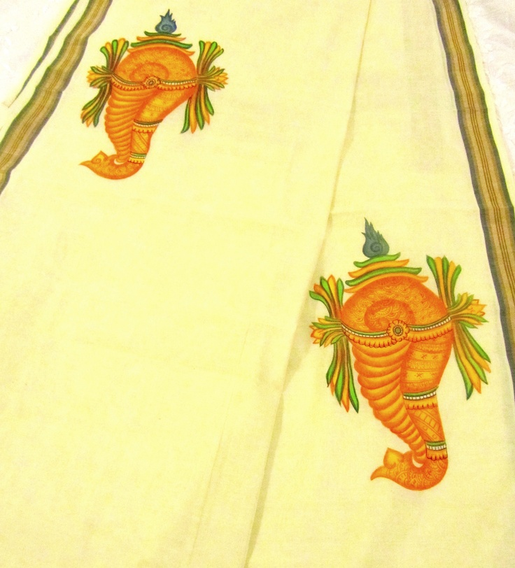 Mural painted Kerala saree