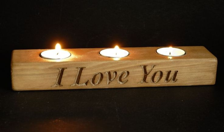 Valentines Gift Handmade Wooden Triple Tealight Candle Holder Engraved & Personalised