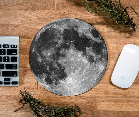Moon Mouse Pad, Moon Mousepad, Vintage Mousepad, Full Moon, Custom Mousepad…