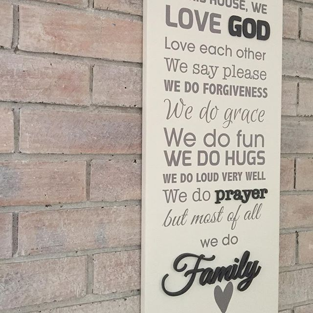 A version of our Home Rules done as a stretch canvas with our trademark wooden word details.   #lovecocodecor #giftidea #homerules #houserules #inthishouse #family #wallart #canvasart