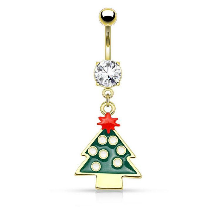 Piercing nombril de Noël plaqué or disponible sur Piercing Street. Petits prix, livraison en 24/48h et qualité garantie !