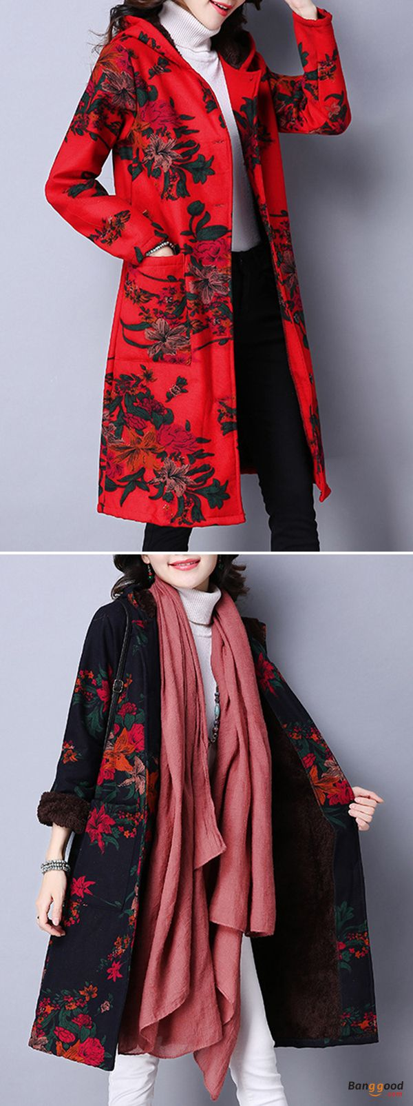 US$53.69 + Free shipping. Size: XS~2XL. Material: Cotton, Polyester. Fall in love with elegant and casual style! Folk Style Women Hooded Long Sleeve Floral Printed Velvet Warm Coat.