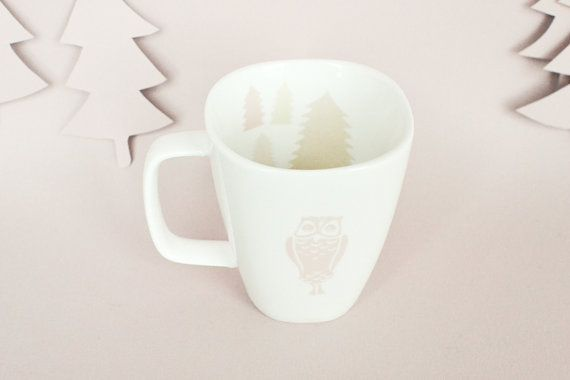Mug with pink owl and trees by StudioRobinPieterse on Etsy, $23.00