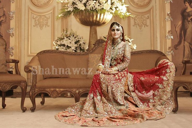 Pakistani wedding dress - red, orange and gold.