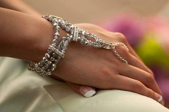 Bohemian Bridal Bracelet Ring Bridal Hand Piece Gatsby