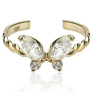 10K. Gold Toe Rings w/CZ Butterfly Toe Rings - Gold. $122.94