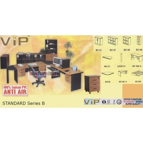 Set Office Standard Series B VIP Condition:  New product  Terdiri dari (masing-masing 1 set)  BC 06, BC 02, BC 05, MV 602 A, MF 01, MS 01, MV 302 A, MU 01, LEGS 01 100% lapisan PVC Anti air, bukan kertas foil biasa  tidak termasuk kursi kantor dan aksesoris lainnya yang digambar  bisa dicustom item terpisah