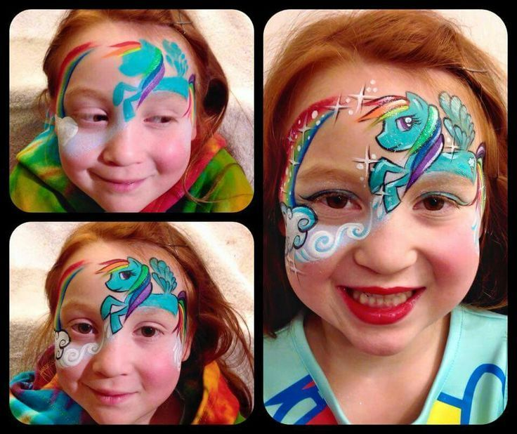 Face paint My Little Pony on Pinterest | My Little Pony, Horse ... #facepainttutorial