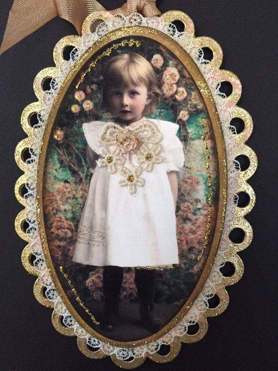 Christmas ornament Tag Victorian Image Vintage Charm by ParisPluie