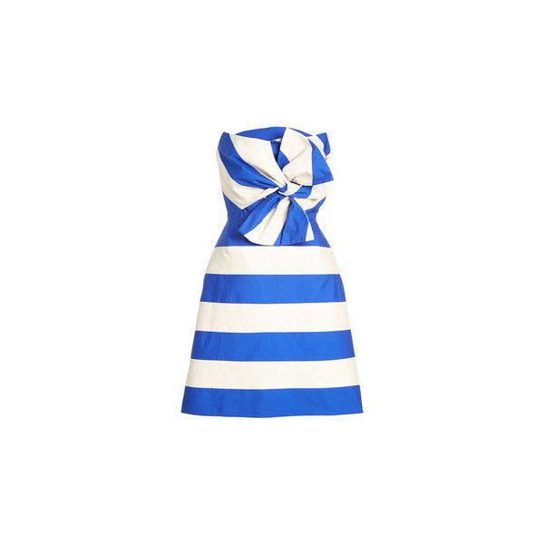 Delpozo Bandeau Dress (33.850 ARS) ❤ liked on Polyvore featuring dresses, white flared skirt, white bandeau dress, white color dress, white colour dress and bow dress