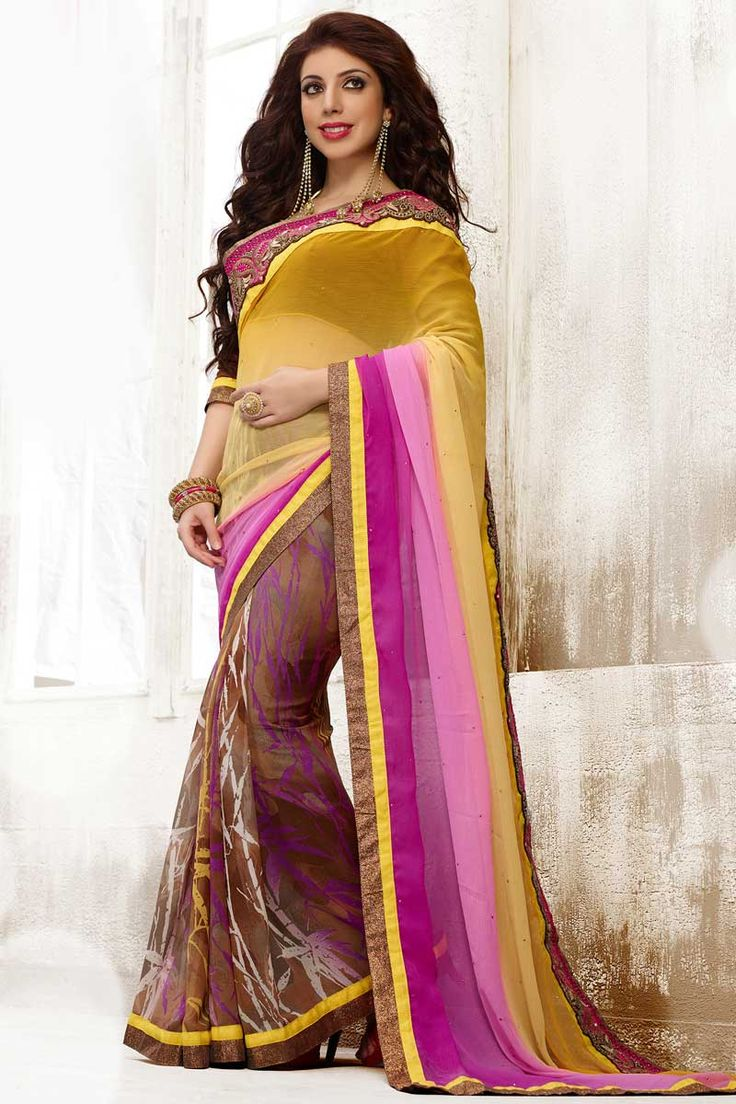 Pink Yellow Chiffon Saree with Art Silk Blouse Price:- 56,77 € Designer festival Sari collection with blouse are now in store presented by Andaaz Fashion like Pink Yellow Chiffon Saree with Art Silk Blouse. This Saree is embellished with Embroidered, Resham, Stone, Zari, work and designed with Lace Border Designer Pallu, Asymmetrical Neck Blouse, Elbow Sleeve. This is prefect for Party, Wedding, Festival…